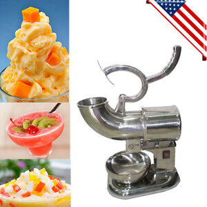 Usa Electric Ice Crusher Shaver Machine Snow Cone Maker Shaved Ice 400lbs h Fda