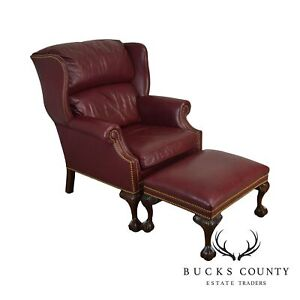Hancock Moore Red Leather Ball Claw Wing Chair With Ottoman