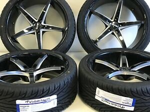 4 tourne Tr70 20x8 5 5x120 20 Black milled 20 Rims Tires Fits Chevy Camaro