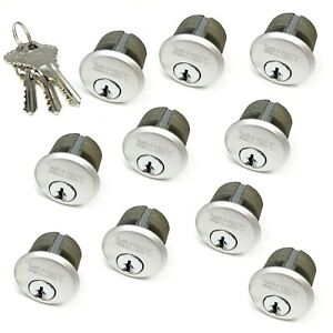 10 New Mortise Lock Cylinders 1 For Store Front Door Adams Rite All Keyed Alike