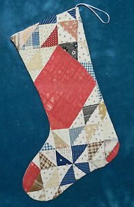 Primitive Antique Vintage Cutter Quilt Christmas Stockings Blue Red 16 33