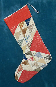 Primitive Antique Vintage Cutter Quilt Christmas Stockings Blue Red 16 31