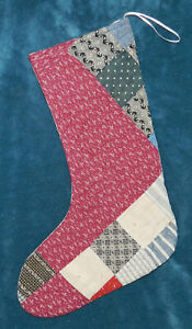 Primitive Antique Vintage Cutter Quilt Christmas Stockings Blue Red 16 71
