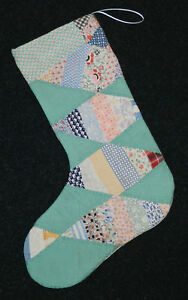 Awesome Primitive Antique Vintage Cutter Quilt Christmas Stocking 17 38 Jadeite