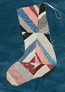 Primitive Antique Vintage Cutter Quilt Christmas Stocking Wow 60