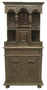 Carved French Breton Carved Oak Buffet Sideboard 19th Century 1800s