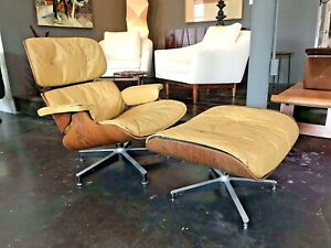 Eames Herman Miller Vtg Mid Century Modern Leather Rosewood Lounge Chair Ottoman