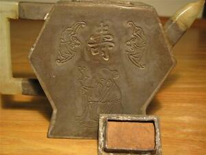 Early Chinese 13 33cm Yixing Zisha Pewter Overlay Scholar Poetry Teapot