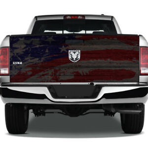 American Flag Grunge Wood Wrap Graphic Rear Tailgate Vinyl Decal Pickup Truck