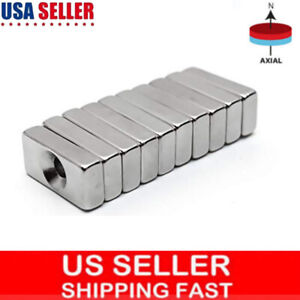 5 50ocs Super Strong Rare Earth Neodymium Block Magnets 20x10x4mm Hole 3mm N35