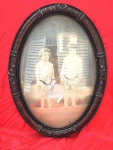 Antique Bubble Oval Glass Frame Tiger Wood With Children Photo
