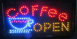 Coffee Open Led Sign Super Bright High Quality Led Coffee Shop Sign Large