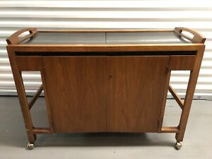 Mid Century Modern Drexel Rolling Bar Cabinet Serving Cart Black Ebony Top