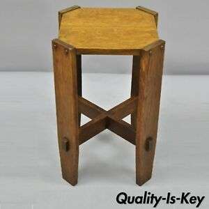 Antique Mission Oak Arts Crafts Side Table Plant Stand Attr Stickley Bros