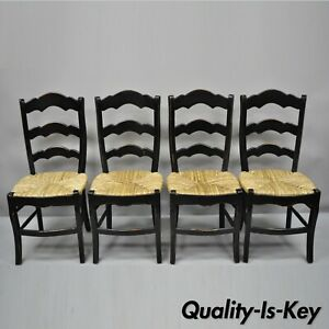 4 French Country Rush Seat Black Ladder Back Rustic Country Dining Side Chairs