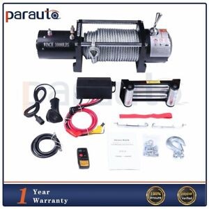 10000lbs Electric Recovery Winch 80 Steel Rope 12v 4wd Offroad Pickup Truck