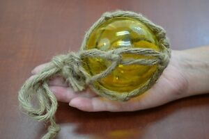 Yellow Reproduction Blown Glass Float Fishing Buoy Ball With Fishnet 3 F 7