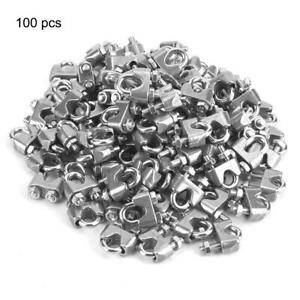 100pcs pack M4 Stainless Steel Wire Clips Cable Rope Clamps U Shape Bolt 4mm