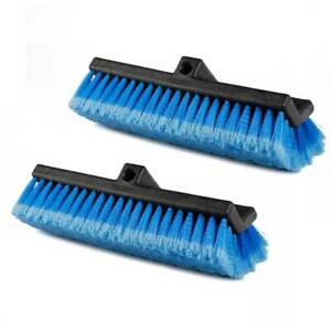 2x Carcarez 10 Flow thru Bi level Car Wash Brush Head With Feather tip Bristles