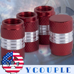 4pcs Red Tire Air Valve Stem Dust Caps Car Truck Bike Wheel Rim Usa Stock