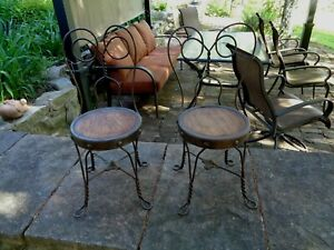 Vintage Antique Lot Of 2 Ice Cream Parlor Chairs Wrought Iron Oak Childs Size