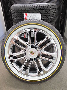 22 New Platinum Escalade Factory Chrome Wheels 285 45 22 Vogue Tires 5358