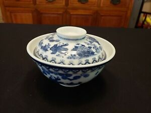 Antique Oriental Asian Blue And White Porcelain Rice Bowl W Lid Signed In Asian