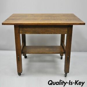 Antique L Jg Stickley Mission Oak Model 597 Blind Drawer Work Stand Table Desk