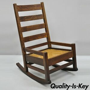 Antique Arts Crafts Mission Oak Ladder Back Hip Rail Rocker Rocking Chair