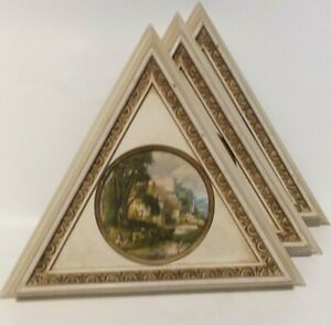 Large Vintage Frame Set Triangle Wood Wall Decor 12 Tall Country Victorian