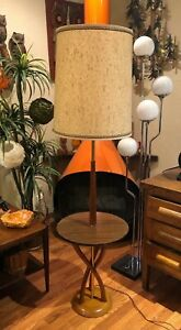 Nice Mid Century Danish Modern Bent Teak Wood W Formica Table Floor Lamp Vintag