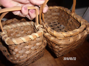 4 Primitive Style Mini Small Baskets Great For Tree Hangers Cubbies