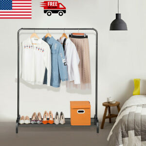 Heavy Duty Garment Rack Commercial Clothing Hanger Metal Storage Stand Shoe Rack