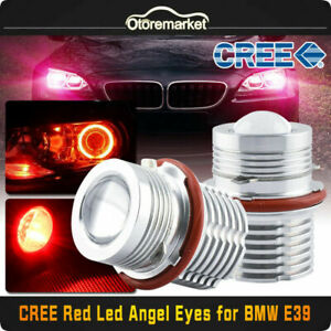 2x 60w Red Led Angel Eyes Halo Ring Light Lamp Bulbs For Bmw E39 E60 Error Free