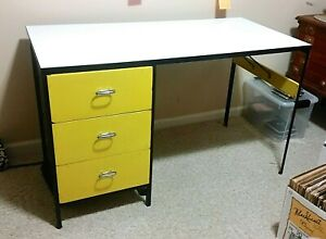 Yellow Steel Frame Desk By George Nelson For Herman Miller Mcm Original