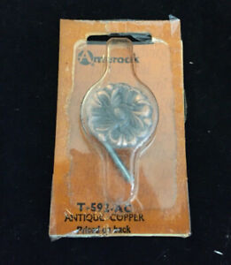 T 592 Amerock French Provincial Drawer Pull Cabinet Knob Antique Copper Flower