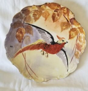 Beautiful Limoges France Hand Painted Pheasant Charger Plate Signed Max