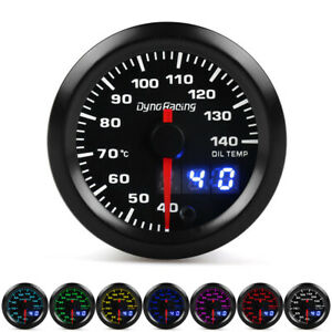 2 52mm Digital Pointer 7 Color Led Oil Temp Gauge Oil Temperature Meter Sensor