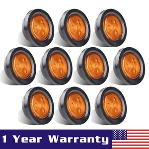 10x Amber 2 5 Round 4 Led Light Truck Trailer Side Marker Clearance Rv Lamp