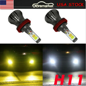 Dual Color H8 H11 Led Fog Light Bulbs White Amber Yellow Driving Drl Lamp Auto