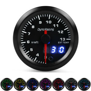 2 52mm Digital Pointer 7 Color Led Car Gas Temperature Gauge Egt Meter Sensor