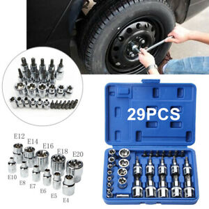 Chrome Vanadium 29pcs Torx Socket Bit Set 1 4 3 8 1 2 Adapter W Carry Box