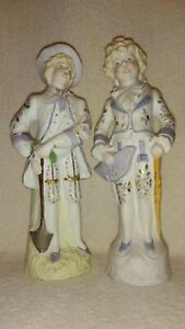 Pair Of Vintage Victorian Bisque 11 Children