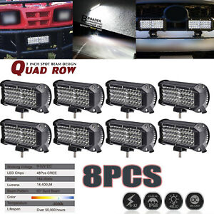 8x 7 Inch 480w Led Work Light Bar Flood Combo Driving Offroad Tractor 4wd Lamp