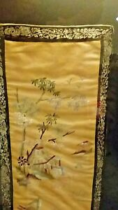 Antique Chinese Silk Embroidery Tapestry Custom Framed
