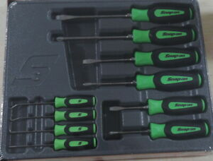 New Snap On Green 6pc Combination Instinct Screwdriver 4pc Pick Awl Hook