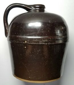 Early Handled Beehive Stoneware Jug Slip Glazed Marked Peoria Pottery 11 Whisky