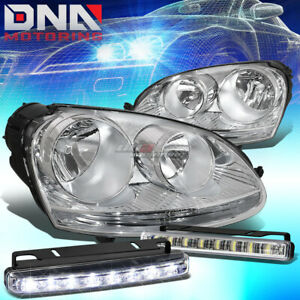 Chrome Housing Clear Side Headlight Led Drl Front Lamp Bar Fit 05 10 Vw Jetta