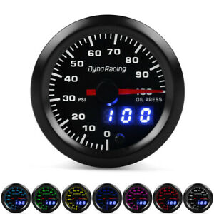 2 52mm Digital Pointer 7 Color Led 0 100 Psi Oil Pressure Gauge Meter Sensor