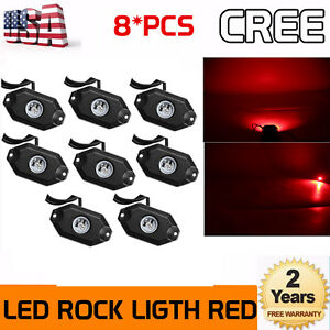 8x9w Led Rock Light Trail Fender Lighting Offroad Truck Fit Jeep Bright Red 2